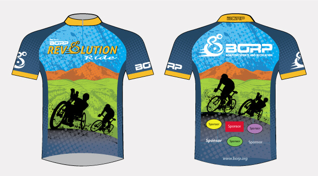 The 2014 Rev jersey: two silhouettes of a handcyclist and a conventional cyclist ride with a verdant green valley and distant orange hills behind them.