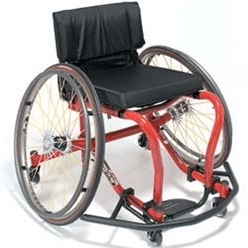 a wheelchair designed for playing wheelchair basketball