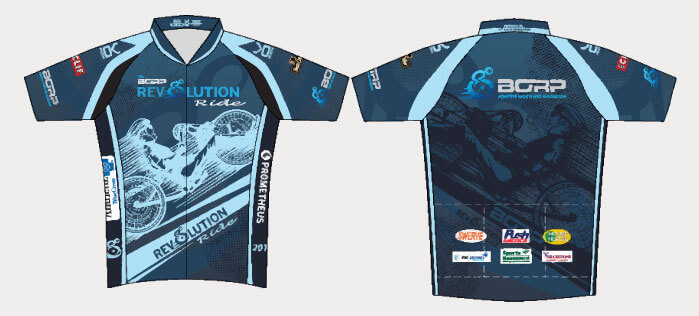 The 2013 Rev jersey features an image of a light blue handcyclist in profile against a dark blue background