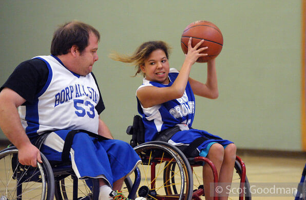 Sam and Christie on the basketball court