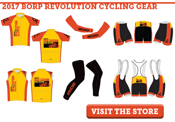 Picture above shows the 2017 BORP Revolution Cycling Gear Short sleeve jersey is yellow with red sides and sleeves and the Revolution Jersey placed vertically on the left side. A BORP logo is in black on the sleeves. The back of the jersey has a horizontal Revolution logo with a hand cyclist and three pockets. (Sponsor logos will appear on the pockets.) Sleeveless Jersey is the same design as the short sleeve jersey, with the BORP logo appearing on the red shoulders. Arm warmers are red with a black BORP logo. Leg warmers are black with a red BORP logo. Shorts and bibs are black with a red stripe on the side and a yellow waist band. The BORP logo is in black on the red stripe. The back of both items feature the Revolution logo on the yellow waist band.
