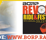 Email Signature image with group of cyclists, REV logo and text: support my ride: www.borp.rallybound.org