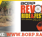Email Signature image with hand cyclist celebrating as she rides, REV logo and text: support my ride: www.borp.rallybound.org