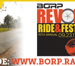 Email Signature image with a hand cyclist riding past vineyards, REV logo and text: support my ride: www.borp.rallybound.org