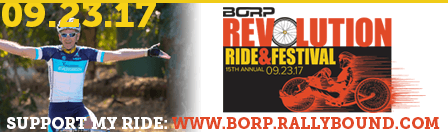 Email Signature image with a celebrating bike rider, REV logo and text: support my ride: www.borp.rallybound.org