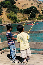 Two children fishing