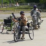 A veteran rides an adaptive cycle