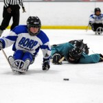A BORP sled hockey player chases the puck as his opponent does a face plant on the ice