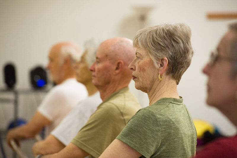 Five members of a Yoga for Seniors class in profile