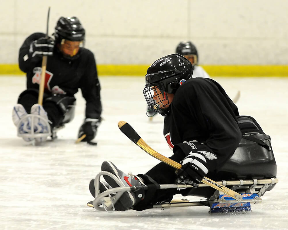 A sled hockey sprays some ice while making a turn