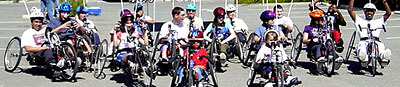 17 BORP youth on handcycles