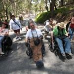 Three adventurers share a laugh on Angel Island
