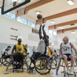 a BORP basketball player takes a shot
