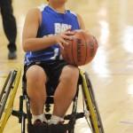 A young wheechair basketball player