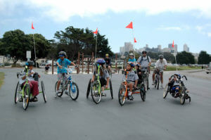 A group of youth cyclists and parents in San Francisco
