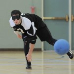 Abel Del Toro follows through after taking a shot in a Goalball game
