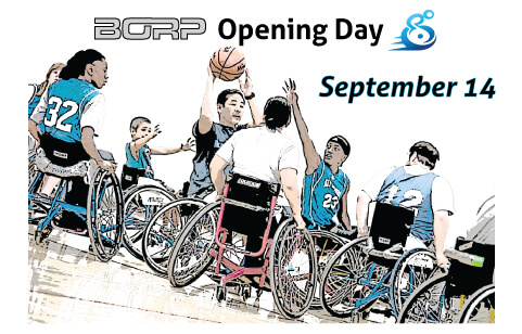 Artistic rendering of BORP wheelchair basketball players