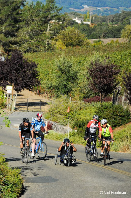 An adapative cyclist is surrounded by four upright cyclists on a beautiful day in the wine country