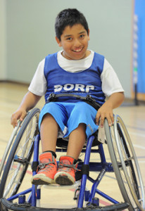 a young BORP participant in a wheelchair