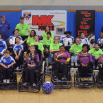 Group photo of power soccer teams at January 11, 2014 tournament