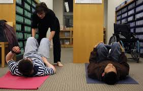 Nancy Leading Yoga for the Blind