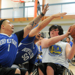 Jr. Road Warrior Koda Ahlstrom is guarded by two BORP All Stars