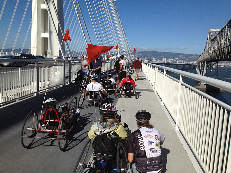 Adaptive cyclists on the new Bay Bridge