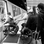 BORP youth board a BART train during a travel training outing