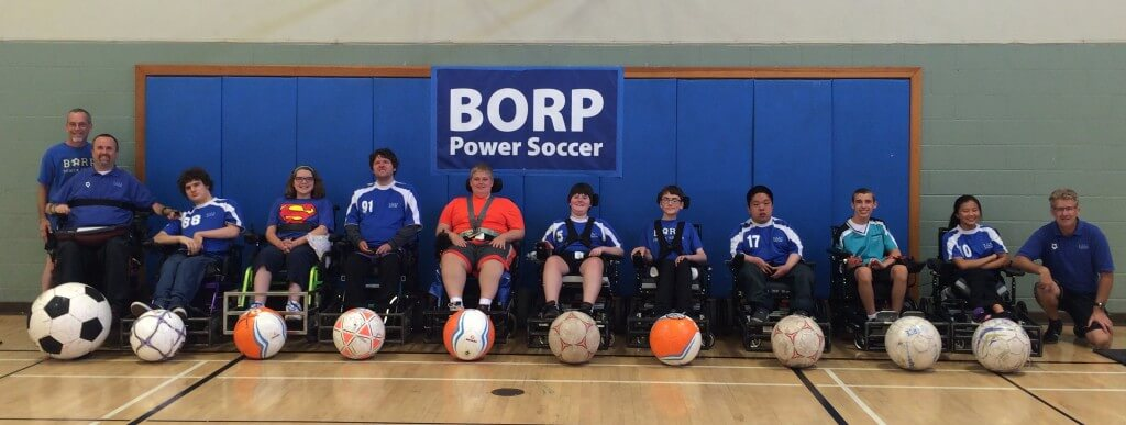 Athletes from the 2014 BORP Summer Power Soccer Camp