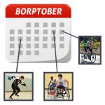 BORPTober calendar icon with images of BORP athletes