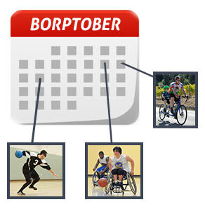 BORPTober calendar icon with images of BORP athletes