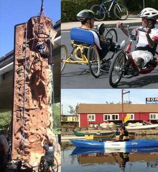 3 images  of BORP athletes on a  climbing wall, in a kayak, on adaptive bikes