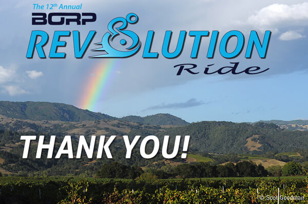 A rainbow above the Alexander Valley at the conclusion of the 2014 Revolution Ride