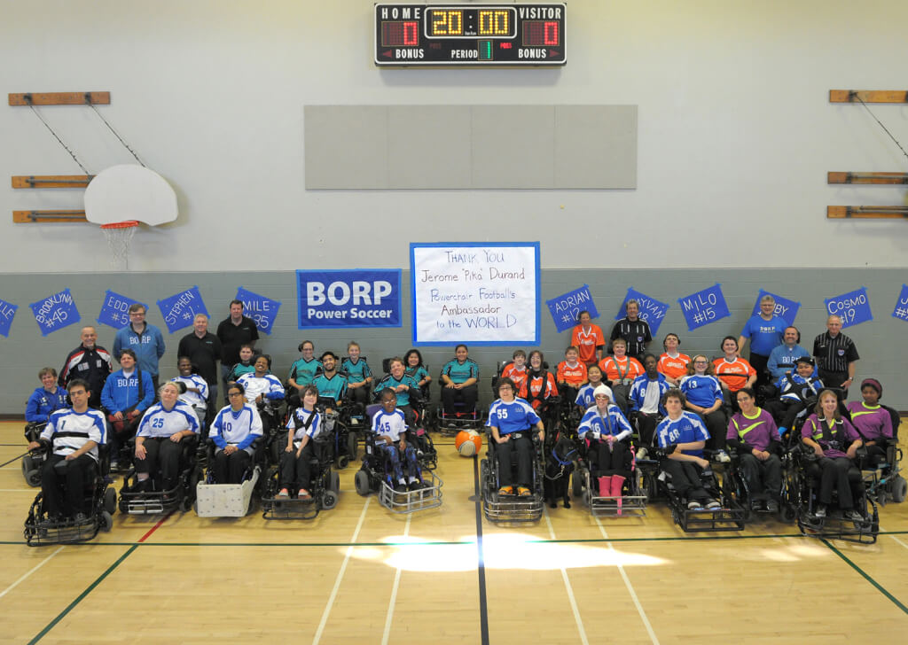 Players from the Nov. 15/16, 2014 Power Soccer tournament in Berkeley pose for a group photo