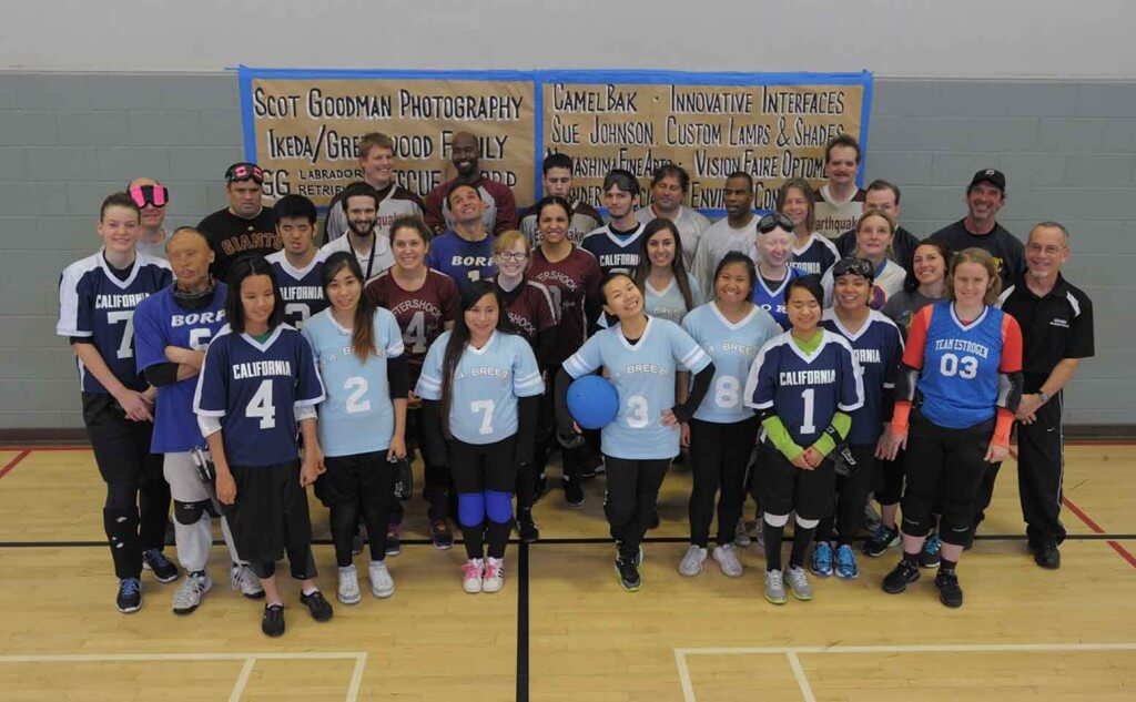 Participants from the 20th Annual BORP Goalball Invitational Tournament pose for the camera