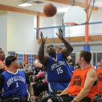 A BORP All Star reaches for the basketball in a game from the 2014 BORP Hoops Classic