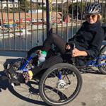 Katherine Sherwood on the ICE bike in Berkeley