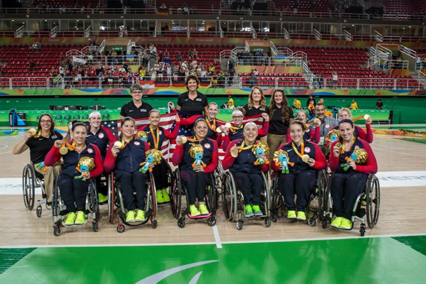 Group shot of USA Women's Wheelchar Basketball Team and Choaches