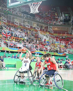 Action shot from Women's Wheelchair Basketball: USA v Britain at the 2016 Paralympic