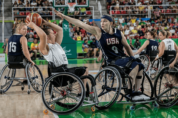 Women's Wheelchair Basketball Action Shot: USA v German