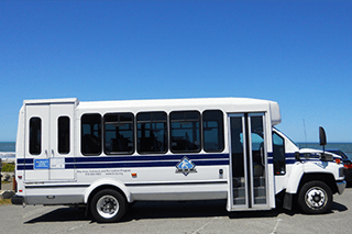 One of BORP's buses at Rockaway Beach in Pacifica CA.