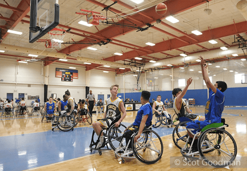 Jr Road Warriors playing wheelchair basketball