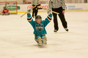 Celebrating after making a penalty shot