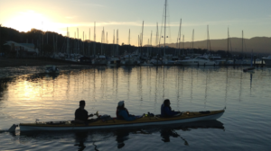 Kayaking in the San Francisco Bay at sunset