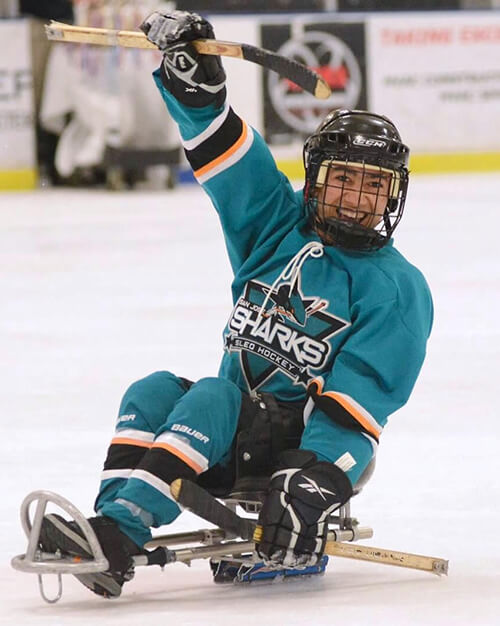 Garnet on the ice at the 2017 Disabled Hockey Festival