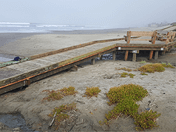 New wooden access path extends out over the sand at Stinson Beach