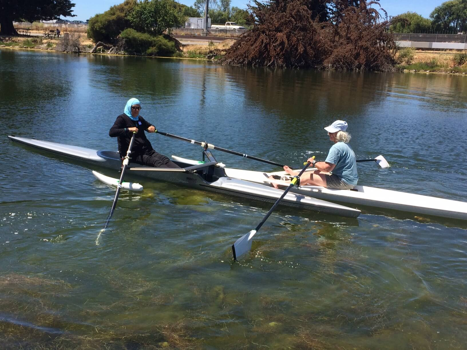 BORP Participant learns to row at Berkeley Aquatic Park