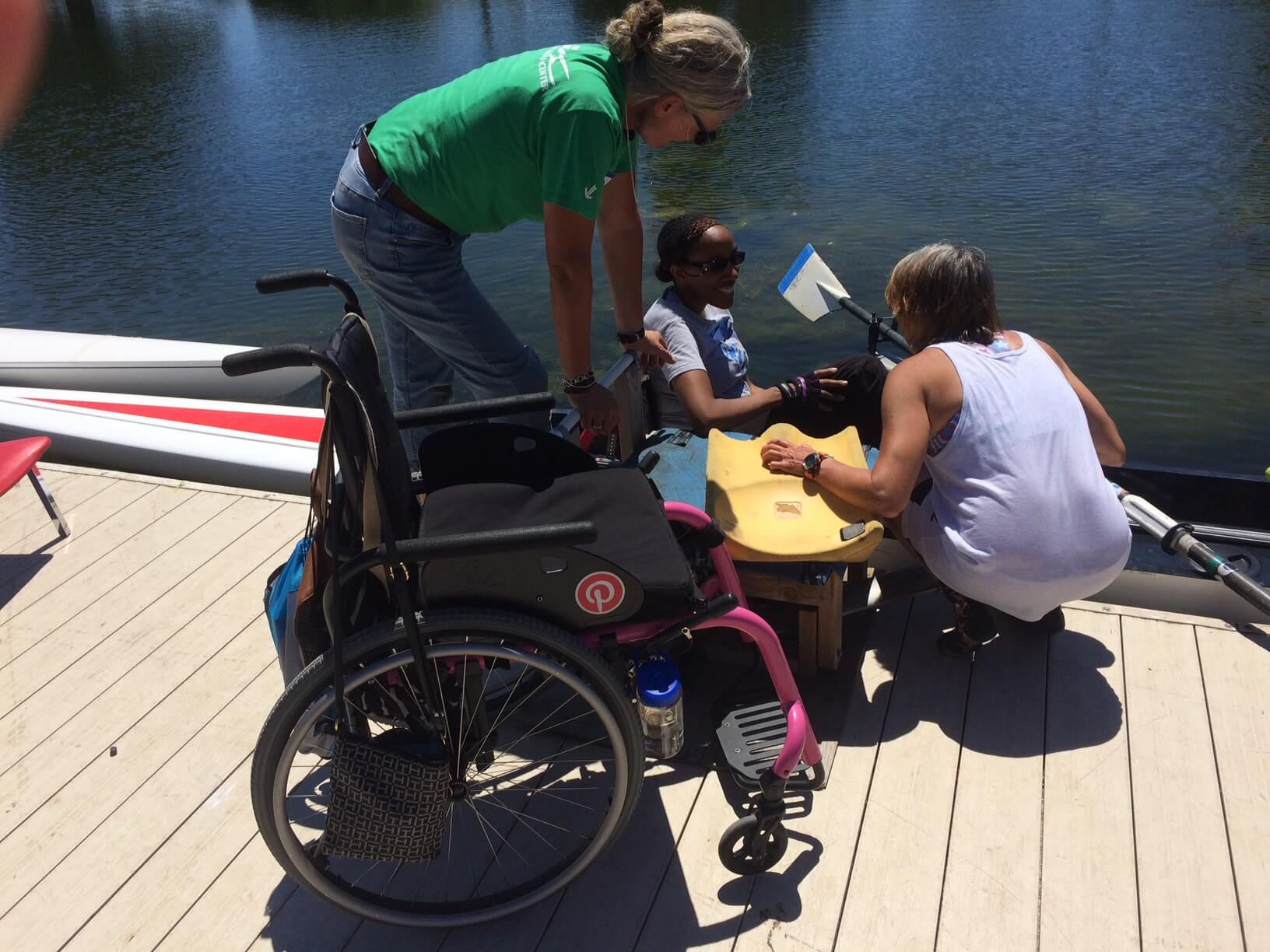 Getting into the boat and ready to row at BORP's adaptive dock
