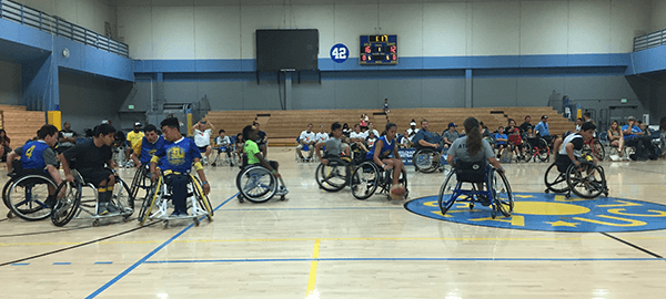 BORP's Jr. Road Warriors playing basketball at the 2017 Angel City Games