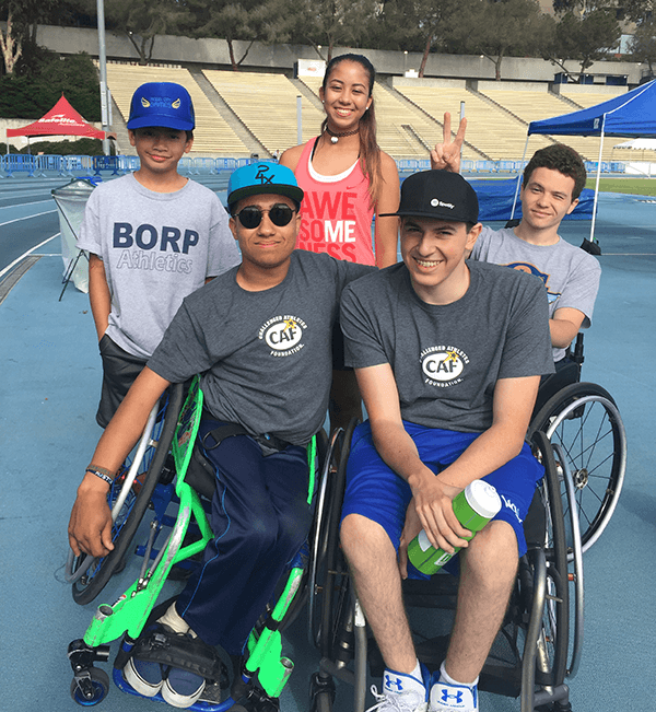 The BORP youth post for a picture on the track at the 2017 Angel City Games